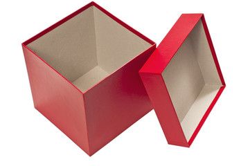 Empty Holiday Red Gift Box With Lid