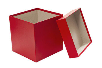 Empty Christmas Red Gift Box With Lid
