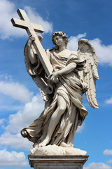 marble statue of angel from the Sant'Angelo Bridge in Rome, Ital