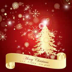 Christmas Tree Background - Vector Illustration