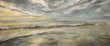 Morze po storm.Acrylic malowanie na płótnie.