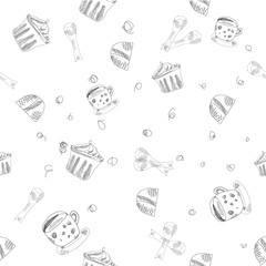 Cup and cakes in sketch pattern