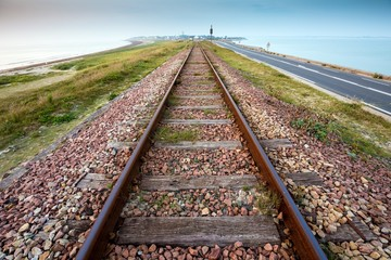 Straight railway perspective