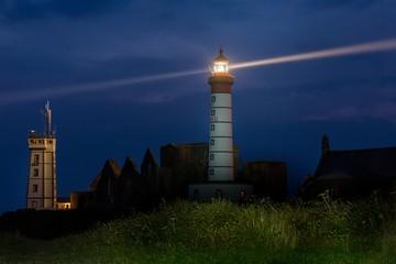 Saint Mathieu lighthouse illuminated