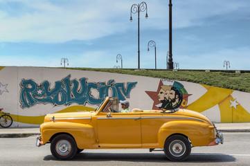 Yellow taxi in Havana, Cuba