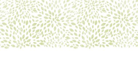 Vector green leaves explosion textile texture horizontal border