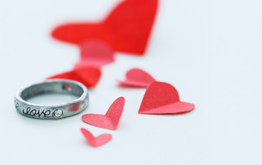love ring and red heart background