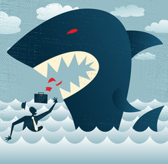 Abstract Businessman falls Prey to a Huge Shark.