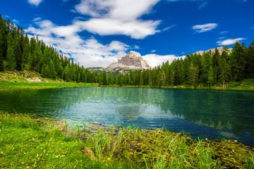 View to Lago Antorno and The Tre Cime di Lavaredo in Dolomites,