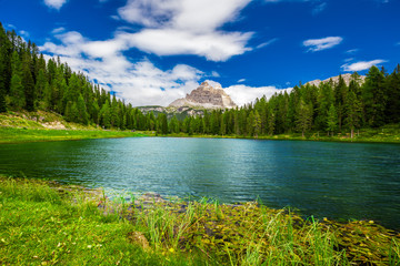 View to Lago Antorno and The Tre Cime di Lavaredo in Dolomites,