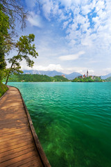Church on island in the middle of Bled lake, Julien Alps,
