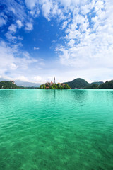 Church on island in the middle of Bled lake. Slovenia