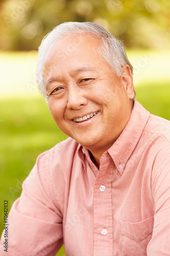 canvas print picture Portrait Of Smiling Senior Asian Man Sitting In Park