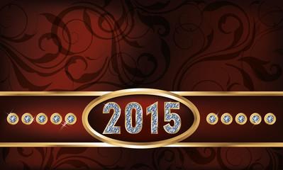 Diamond 2015 new year invitation card, vector