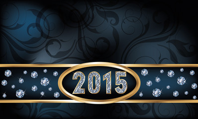 2015 diamond new year invitation card, vector