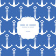 Vector anchors blue and white frame seamless pattern background