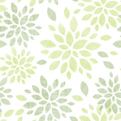 Fabric textured abstract leaves seamless pattern background