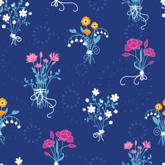 Fresh flower bouquets seamless pattern background