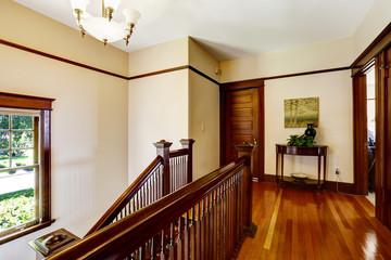 Upstairs hallway with hardwood floor and staircase