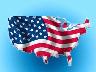 USA  America 3D map