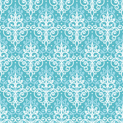 Light blue swirls damask seamless pattern background