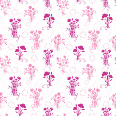 Pink flower bouquets seamless pattern background