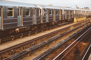 Subway Train in New York before Sunset