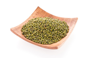Green mung beans isolated on white background