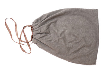 grey drawstring pouch with brown ribbon , top view