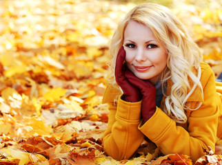 Autumn Woman with Maple leaves