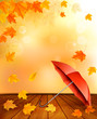Retro autumn background with colorful leaves and an umbrella. Ve