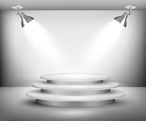 Showroom with spotlights. Vector.