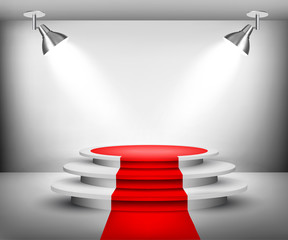 Showroom with red carpet. Vector.