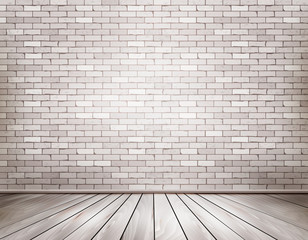 White brick room. Vector.