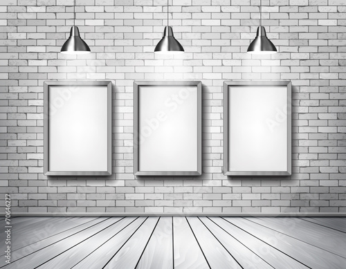 White brick show room with spotlights. Vector. - 70646277