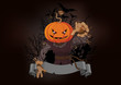 Scarecrow with a pumpkin head