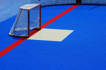 Hockey rink and goal
