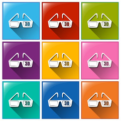 Icons with movie 3D eyewear