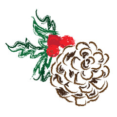 Holiday Pinecone with berries and holly