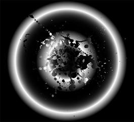 Circle grunge black background