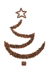 Christmas tree made from coffee beans. Isolated on white