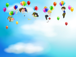 Cute cartoon people floating in the sky with balloon