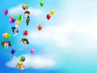 Cute cartoon people and chidren floating in the sky with balloon