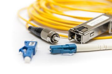 Optic fiber with connector isolated on white