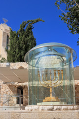 The gold-plated menorah in Jerusalem
