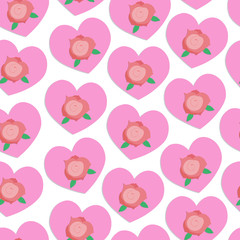 Vector seamless background with hearts and roses