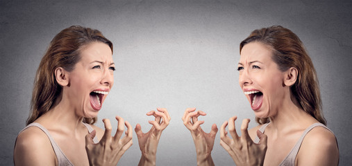 angry woman hysterical screaming pissed off at herself