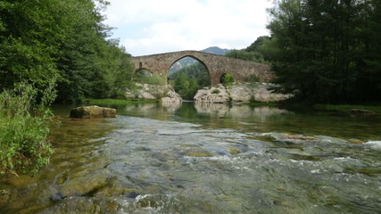 Medieval arched bridge over Llobregat river in  Pyrenees