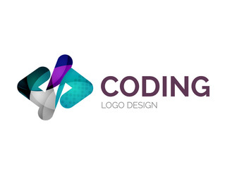 Code icon logo design made of color pieces