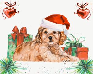 New year card. Spaniel. Ridiculous puppy